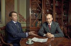 "Vladislav Mamyshev-Mosnroe ""Putin and Medvedev"" 2011. Fotografía en color"