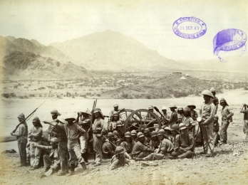 Felice Beato. 1884/85. Tropas australianas en Handoub.