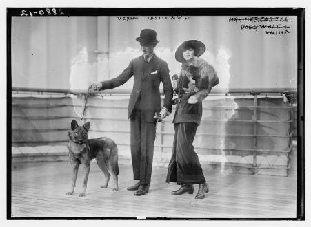Vernon Castle y su esposa con sus mascotas. Entre 1910 y 1915. Biblioteca del Congreso de EE.UU.